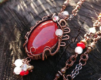 Orante Red Agate Pendant // Wire Wrapped Gemstone Necklace
