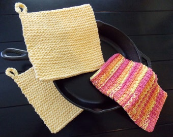 Hand Knitted Cotton Pot Holder and Dish Cloth Set, Yellow Pot Holder and Dish Cloth Set