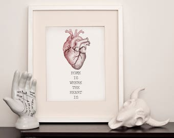 Printable Anatomically Correct Home is Where the Heart Is - Printable Wall Art - A4