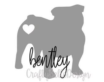 Bulldog Silhouette Decal | Bulldog Monogram Decal | Bulldog Decal | Bulldog Parent Decal | Car Decal | Laptop Decal | Tumbler Decal | Vinyl
