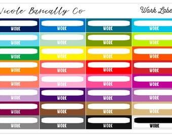 Rainbow Work Labels Planner Stickers