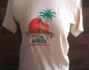 "Super THIN vintage 1980's ""JAMAICA Island in the Sun"" t-shirt.  Soft beige with cool image size M/L"