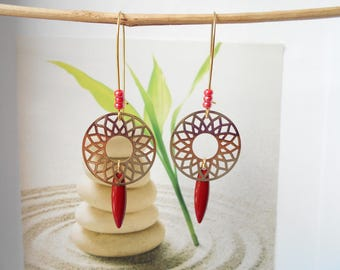 Gold print red sequin earrings
