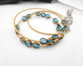Badge Necklace, Beaded Lanyard, Lanyard Necklace, Key Lanyard, Necklace For Keys, Unique Lanyard, Fashion Lanyard, ID Holder, Blue Yellow