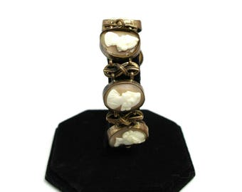 """Antique 1870s French Victorian Hand Carved Shell and Gilt Cameo Link 8"""" Bracelet AS IS"""