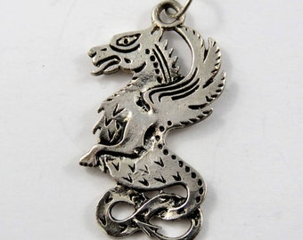 Dragon Sterling Silver Charm or Pendant.