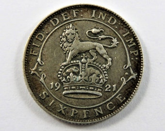 Great Britain Silver Sixpence from 1921. KM#815 a 1