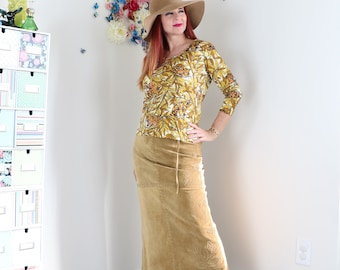 90s Does 1970s Skirt - Suede A-line Maxi Midi Skirt - Floral Leather Embroidered - Tie Waist - Boho Hippie - Size Medium Waist 28""