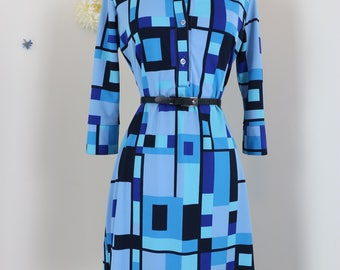 1970s Dress - Abstract Blue Geometric Shift Dress - Long Sleeve Shirt Dress - Bold Patterned Midi - Blue Black Purple - Size Medium