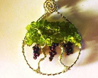 Grapevine Necklace, Grape Jewelry, Grape Wire Wrap, Grapes, Grape Necklace
