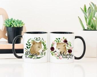 Papa Bear Mug - Mama Bear Mug - Papa Bear Coffee Mug - Mama Bear Papa Bear Mugs - His and Hers Mug Set -  Papa and Mama Mug
