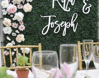 Backdrop sign - laser cut wedding sign // script name sign // large name sign // Photobooth backdrop sign // mr and mrs sign //