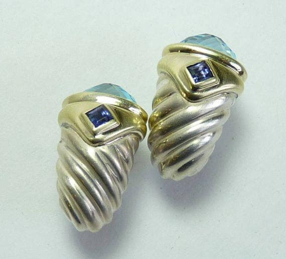 DAVID YURMAN EARRINGS ~ Retired David Yurman ~ Vintage Yurman ~ 14k Gold, Sterling Silver ~ Blue Topaz and Sapphire ~ Renaissance Earrings