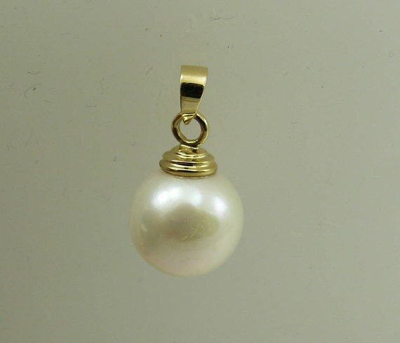 Fresh Water White Pearl 12.0 mm Pendant 14k Yellow Gold