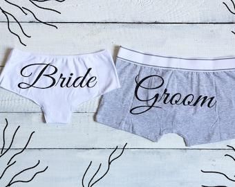 Bride and Groom Set, Bride Groom Underwear, Mr Mrs Undies, Bride panties, Groom Boxers, Wedding Lingerie, Couples Underwear, Wedding Undies
