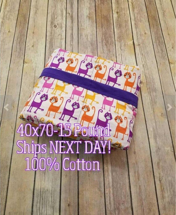 Weighted Blanket, 15 Pound, Cat, 40x70, READY TO SHIP, Twin Size, Adult Weighted Blanket, Next Business Day To Ship