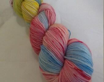 Hand dyed yarn - merino nylon 85/15 4ply - 80's kid