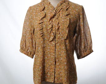 Vintage brown ruffle printed blouse