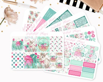 Easter Bunny - Sticker Kit or A La Carte Sheets - Floral Themed Planner Weekly Kit - 180+ Stickers - Erin Condren Vertical Life Planner