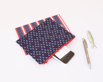 Nautical clutch , zippered pouch with anchors printed , makeup pouch , travel pouch, nautical pouch , babyshower gift , father's day gift