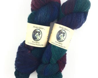 Qiviut Yarn 100% Pure Winter Storm 437yds 2Ply 2oz Skein Lace Hand Dyed Arctic Qiviut NEW Variegated Color Winter Storm Hand Painted Qiviut
