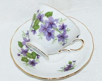 Royal Vale Vintage China Teacup and Saucer Bone China #8141 Violets  - 1888