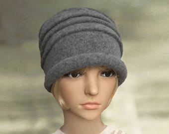 Womens felt hats, Ladies wool hat, Felted wool hat, Gray felt hat, Winter womens hat, Women's  felted hat, Felt hat for lady, Felted hat