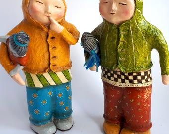 The Twin Girls. sculpture, Home & office décor, Gift, Paper mache, Art work, Unique handmade, Shelf decor, ferfect for housewarming, for her