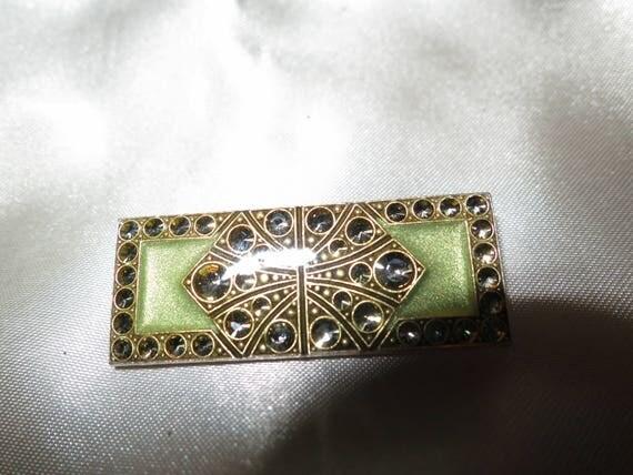 Lovely vintage Art Deco sage green enamel rhinestone brooch made in France
