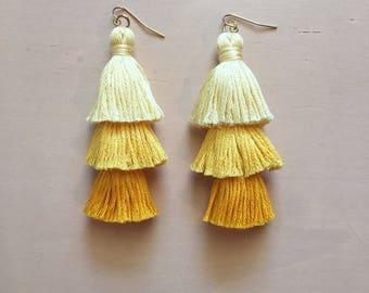 Ombré Yellow Tiered Tassel Earrings, Fringe Tassel Earrings, Stacked Tassel Earrings, Tassel Stack, Fringe Drops