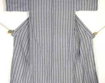 KM394 Vintage Japanese Kimono Womens White Stripe Juban Soft Cotton