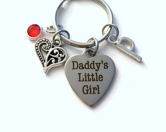 Gift for Daddy's Little Girl Keychain, From Father to Daughter Key Chain her Birthstone Initial Present Jewelry Women Love Wedding Bride him