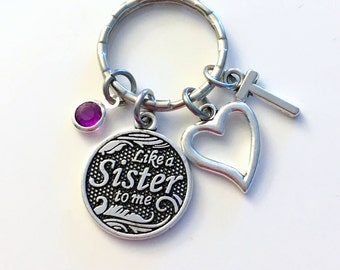 Sister in Law Keychain, Like a Sister to me Key chain, Gift for Best Friends, Step Sister-in-Law Cousin Keyring Heart Birthstone Initial her