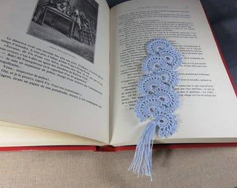 Bookmark crochet bookmark fan, blue bookmark, book page marker, lace jewelry, katia cotton bookmarks
