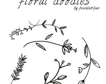 floral doodle clipart, hand drawn clipart, floral clipart, floral elements, flower clipart, doodle clipart