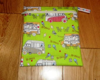 Snack Bag - Bikini Bag - Lunch Bag - Tool Bag - Zero Waste Medium Poppins Waterproof Lined Zip Pouch - Sandwich bag - Eco - Ice Cream Van