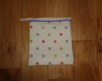 Toiletries Bag - Make Up Bag -  Bikini Bag -  Sandwich bag  -  Eco - Craft Bag - Large Poppins Waterproof Lined Zip Pouch - Multi Spot Dotty