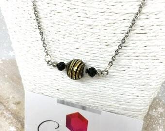 Collier avec véritable perle de Murano Noir et Or