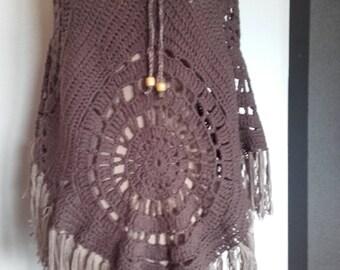 original shawl  braun - hand made - ref Châle 197