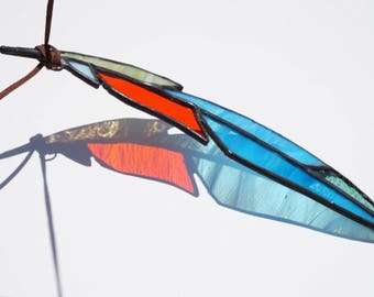 Stained glass feather, glass suncatcher, blue and orange feather suncatcher, blue glass feather, feather suncatcher, spirit feather, boho