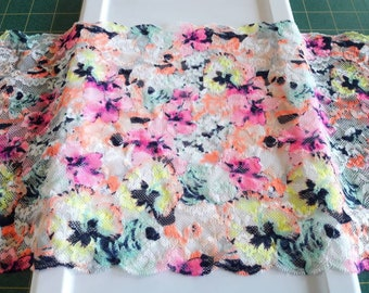 Neon Pink Yellow Orange Floral Pansy 9 inch wide stretch lace by the yard