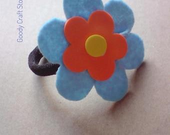 Blue Flower Hair Tie-Flower Ponytail Holder-Blue Elastic Hair Tie
