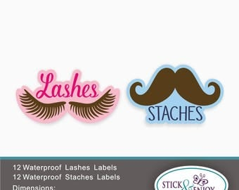 10 Sets Of Lashes Amp 10 Mustache Vinyl Decals Gender Reveal