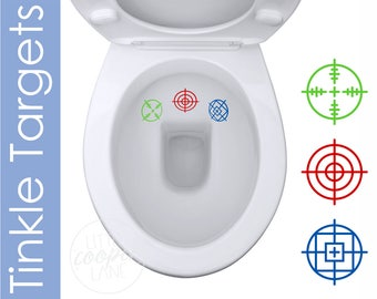 TINKLE TARGETS Vinyl Decal Stickers | 3 x Crosshairs Childrens Toilet Potty Training Aiming Stickers | For Boys_ID#1398