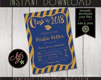 Graduation Invitation | Blue + Gold Graduation Invitation | Blue + Gold Graduation Invite | BBQ Graduation Invite | Graduation Party Invite
