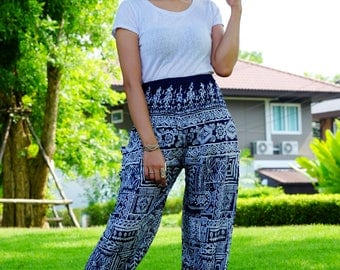 Hippie pants harem pants ancient thai pants cozy pants Black