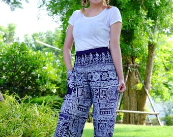 Hippie pants harem pants ancient thai pants cozy pants Dark Blue