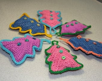 Crochet christmas ornaments Set of 6 Tree decor Christmas decoration Holiday tree decor Christmas gift Christmas trees