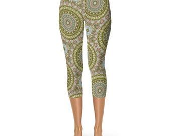 Victorian Style Pattern Leggings, Yoga Leggings, Stretchy Yoga Pants, Antiqued Fashion Leggings