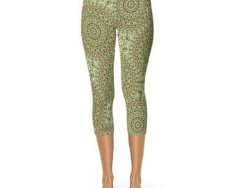 Capri Camouflage Green and Brown Printed Leggings - Camo Leggings, Festival Leggings, Yoga Pants Womens Stretch Pants